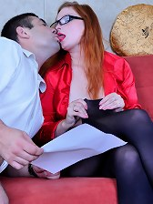 Red hot office babe in black pantyhose jumping on a boner of her co-worker