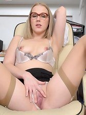 Sexy Office Girl Aston Wilde in phone sex panty play